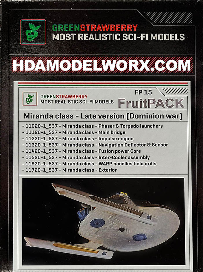 FRUITPACK Miranda Class - Late Version - Dominion War - COMES COMPLETE WITH EIGHT individual Green Strawberry Photoetch and Resin Parts for the AMT 537 Scale Model kit by Green Strawberry