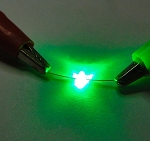 1.5mm Green LED Butterfly Round Top TEN Pack With Resistors for 12v