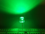 5mm FLAT TOP LED GREEN TEN Pack With Resistors for 12v