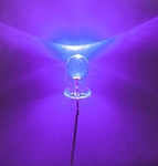 5mm LED Purple UV Clear Round Top TEN Pack With Resistors for 12v