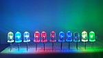 5mm RGB LED Fast to Slow  Color Changer Clear Round Top TEN Pack With Resistors for 12v