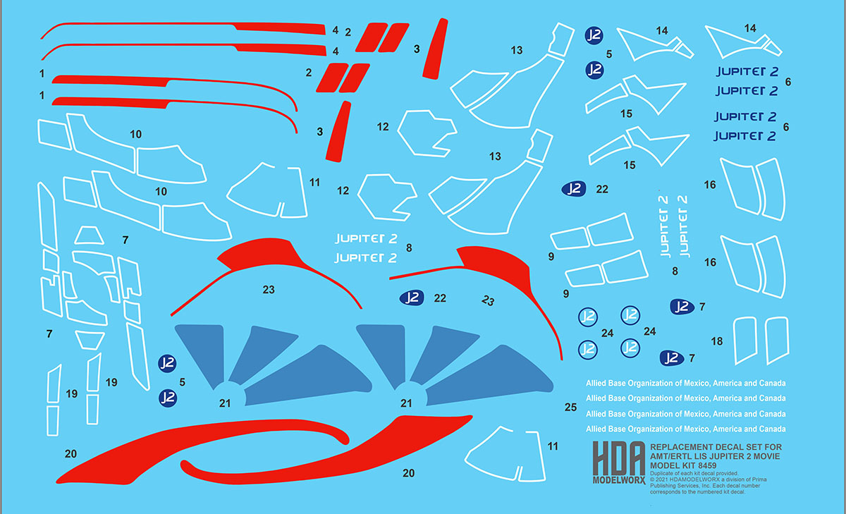 REPLACEMENT DECAL SET for the AMT/ERTL LIS JUPITER 2 Movie Model Kit by HDAMODELWORX