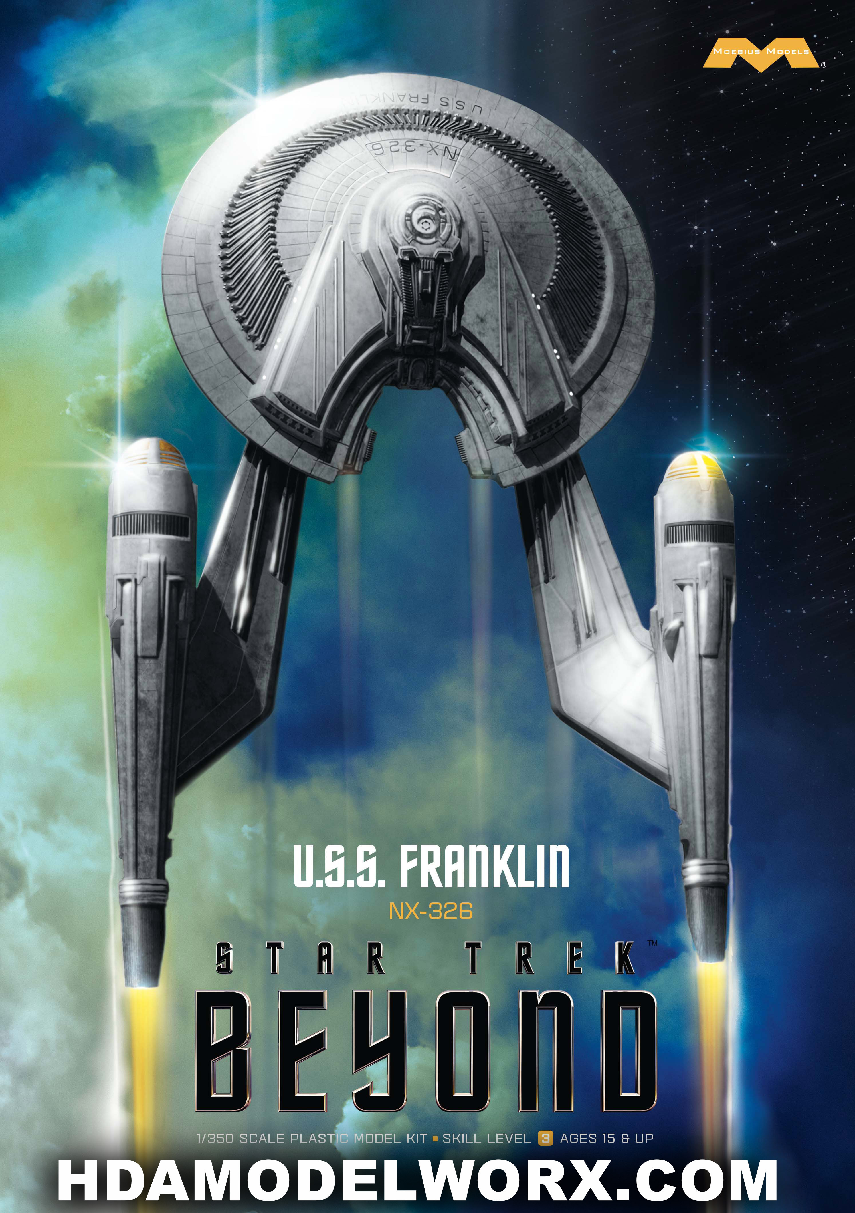 Star Trek U S S Franklin 1 350 Scale Model Kit By Moebius M