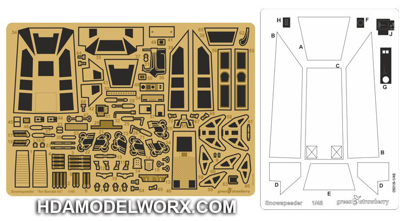 Photoetch set for the Bandai Star Wars SNOWSPEEDER 1:48 Scale Model Kit by GREEN STRAWBERRY