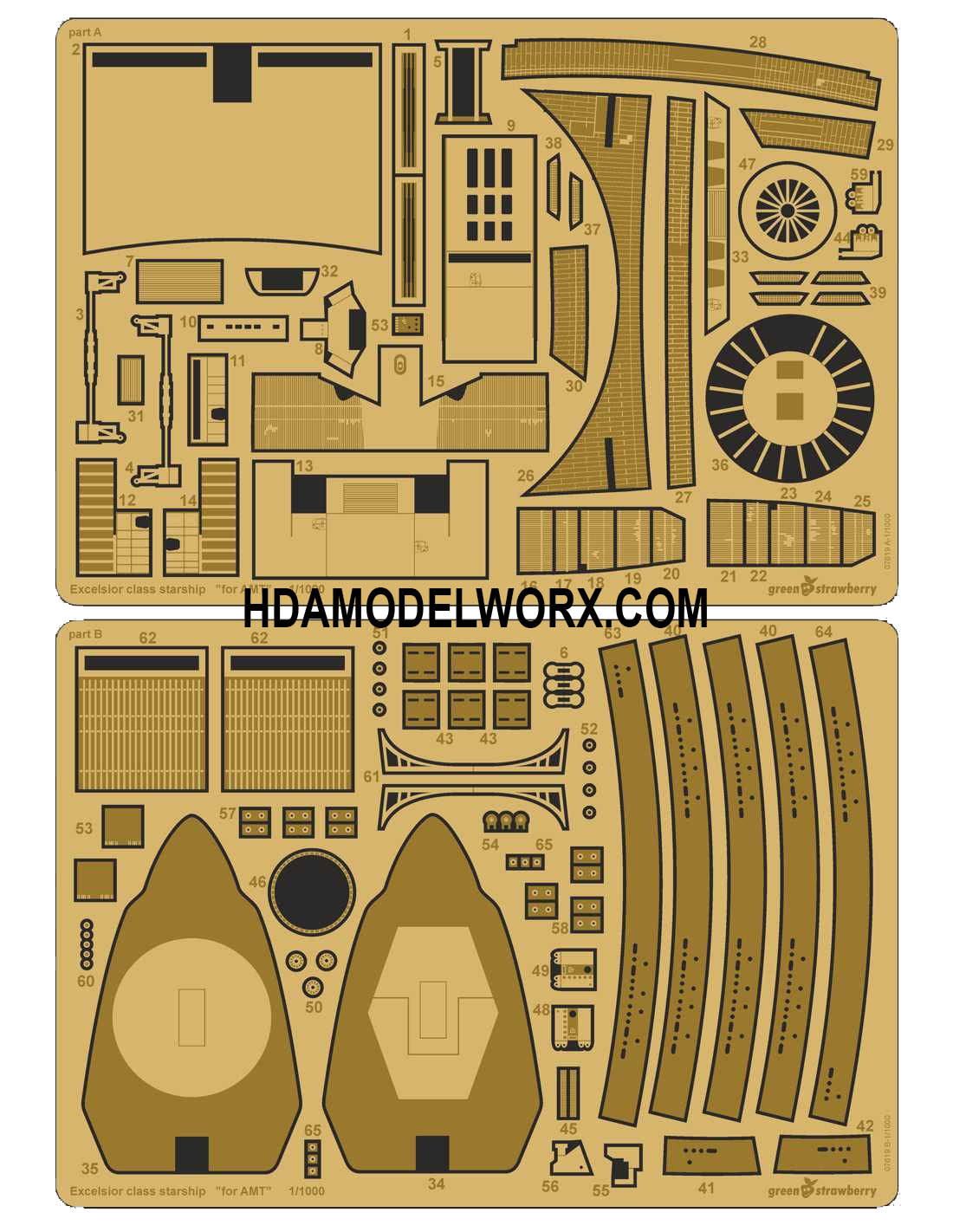 U.S.S. Excelsior NX/NCC-2000 Photoetch Set for the AMT 1/1000 Scale Model Kit by GREEN STRAWBERRY