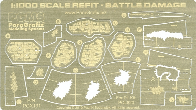 1:1000 Enterprise Refit Battle Damage Photoetch Set by Paragrafix for the Polar Lights Model kit