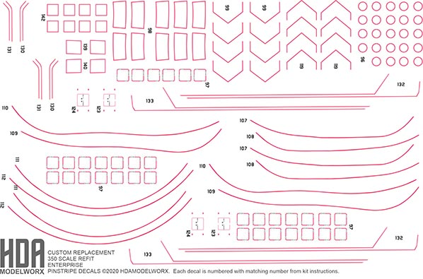 REPLACEMENT PENSTRIPE DECAL SET FOR 350 SCALE REFIT ENTERPRISE MODEL KIT FROM Polar Lights by HDAMODELWORX