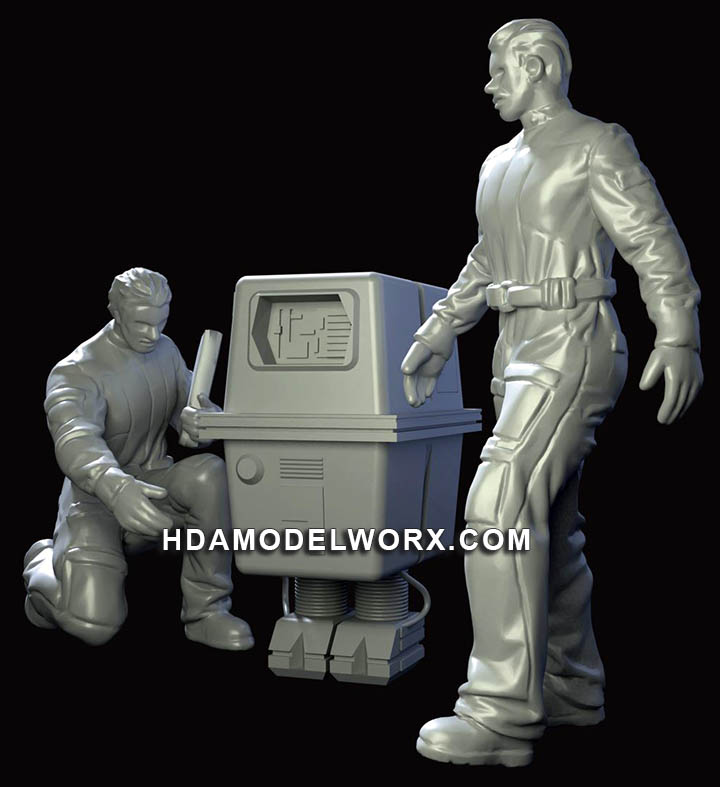 Hangar Crew Vol. 3 1:72 Scale Mechanics with Power Droid Resin Figures Kit by GREEN STRAWBERRY