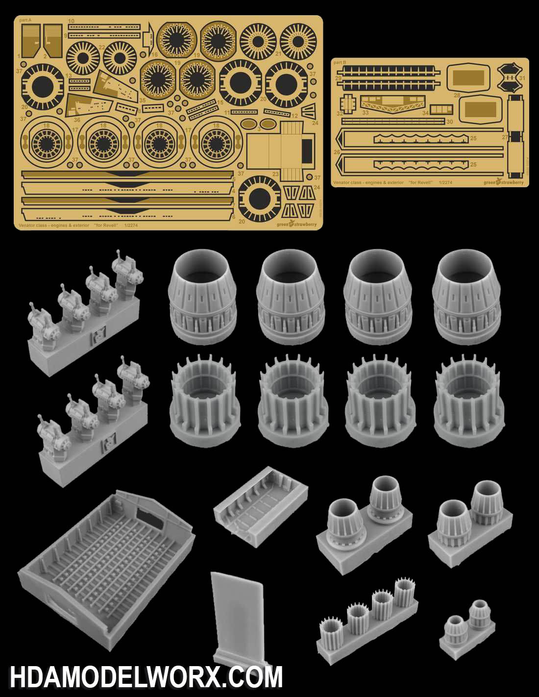 VENATOR CLASS STAR DESTROYER ENGINES & EXTERIOR RESIN AND PHOTOETCH DETAIL SET for the Revell 1/2274 Scale Model Kit by GREEN STRAWBERRY
