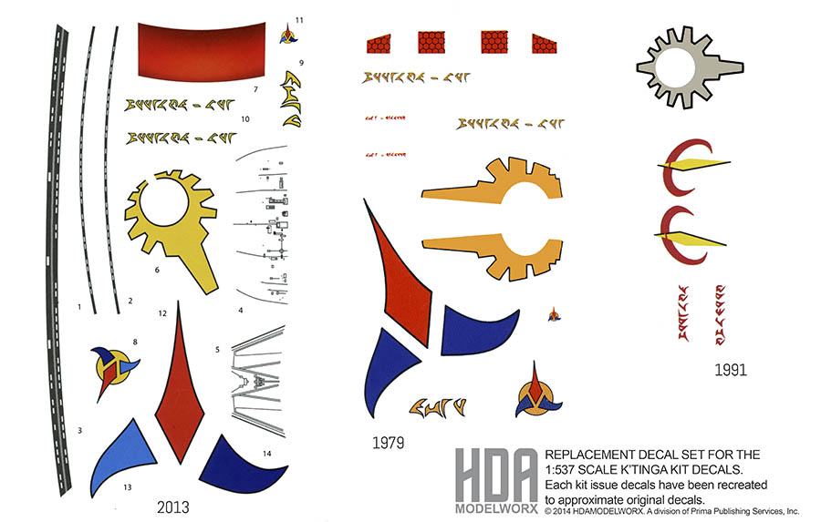 REPLACEMENT DECAL SET FOR 537 K'TINGA MODEL KIT FROM AMT by HDAMODELWORX